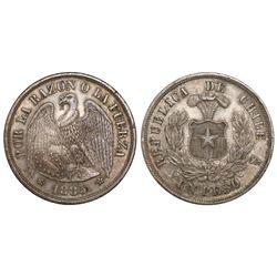 Santiago, Chile, 1 peso, 1885/3.