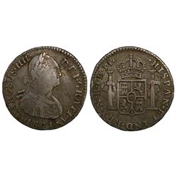Bogota, Colombia, bust 1 real, Charles IV, 1801JJ.