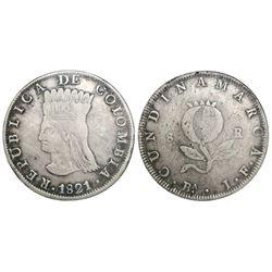 Bogota, Colombia, 8 reales, 1821JF, mintmark BA, encapsulated NGC VF 30.