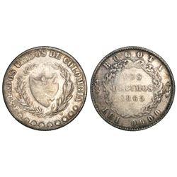 Bogota, Colombia, 2 decimos, 1865, 0.900 fineness, rare.