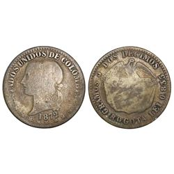 Bogota, Colombia, 2 decimos, 1872, 0.835 fineness.