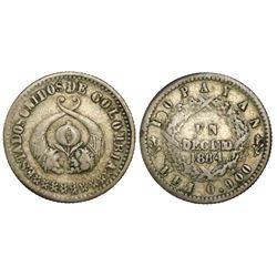 Popayan, Colombia, 1 decimo, 1864, 0.900 fineness.