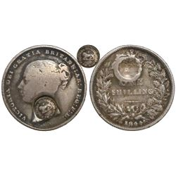 Costa Rica, 2 reales,  lion  countermark (Type VI, 1849-57) on a Great Britain shilling of 1844, Vic