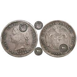 Costa Rica, 50 centavos, lion counterstamp (Type VII, 1889) on a Bogota, Colombia, 50 centavos, 1880