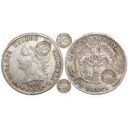 Costa Rica, 50 centavos, lion counterstamp (Type VII, 1889) on a Bogota, Colombia, 50 centavos, 1881