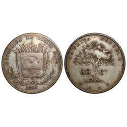 Costa Rica, 50 centavos, 1865GW.