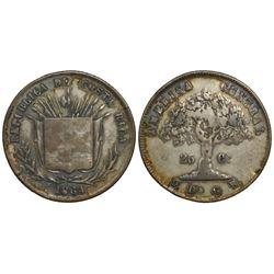 Costa Rica, 25 centavos, 1864GW, denomination in small digits, ex-Mayer.