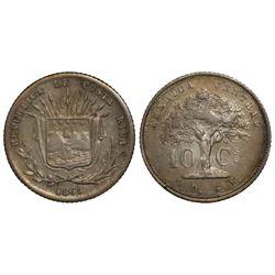 Costa Rica, 10 centavos, 1865GW.