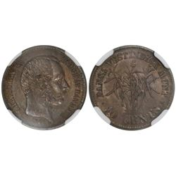 Danish West Indies, 20 cents (1 franc), Christian IX, 1878, encapsulated NGC AU 58.
