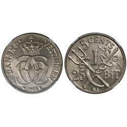 Danish West Indies, 5 cents (25 bit), Christian IX, 1905, encapsulated NGC MS 64.