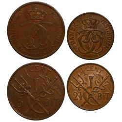 Lot of 2 Danish West Indies copper minors of Christian IX dated 1905: 1/2 cent (2-1/2 bit) and 1 cen