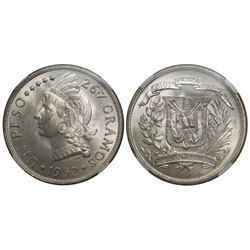 Dominican Republic, 1 peso, 1952, encapsulated NGC MS 65.