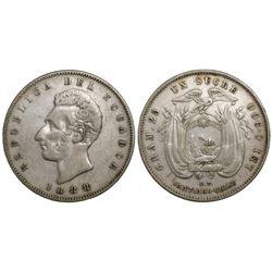 Ecuador (struck in Santiago, Chile), 1 sucre, 1888DT.