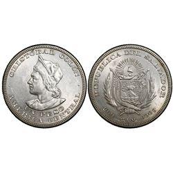 El Salvador (struck in US), 1 peso, 1909CAM.