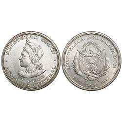 El Salvador (struck in US), 1 peso, 1911CAM, wide right shoulder.