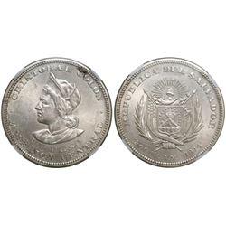 El Salvador (struck in US), 1 peso, 1914CAM, wide right shoulder, encapsulated NGC AU 58.