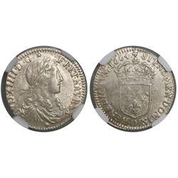 France (Lyon mint), 1/10 ecu, Louis XIV, 1664-D, encapsulated NGC AU 50.
