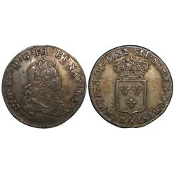 France (Aix mint), 1/3 ecu, Louis XV, 1722, mintmark ampersand.