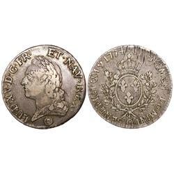 """France (Perpignan mint), ecu """"a la vielle Tete,"""" Louis XVI, 1774-Q."""