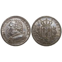 France (Limoges mint), 5 francs, Louis XVIII, 1815-I.