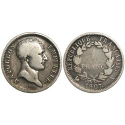 France (Paris mint), 1 franc, Napoleon I, 1807-A.