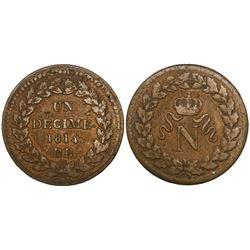 France (Strasbourg mint), bronze 1 decime, Napoleon I, 1814-BB.