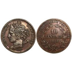 France, essai 10 centimes by Domard, 1848.
