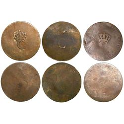 Lot of 3 French colonial copper stampees, large crowned C (1779).