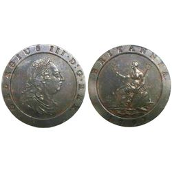 "Great Britain (London, England, Soho mint), copper ""cartwheel"" twopence, George III, 1797, encapsula"