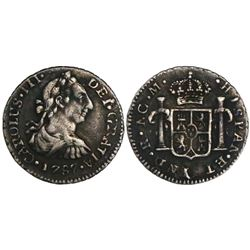 Guatemala, bust 1/2 real, Charles III, 1787M.