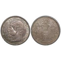 Guatemala, 1 peso, 1863R, Carrera.