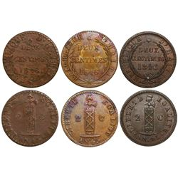 Lot of 3 Haiti copper 2 centimes, AN 43 (1846), all different varieties.