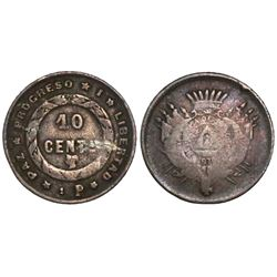 """Honduras, 10 centavos, mule with provisional date """"1P"""" (1883-1900), very rare."""