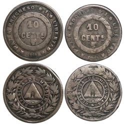 Lot of 2 Honduras 10 centavos, 1889 and 1900.
