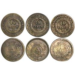 Lot of 3 Honduras 10 centavos, 1895, with 1871 obverse and reverse muled with 1c of 1891, ex-Roberts