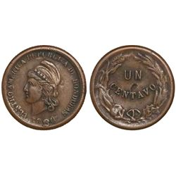 Honduras, bronze 1 centavo, 1880.