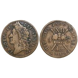 Ireland, brass  gun money  shilling, James II, 1690 March.