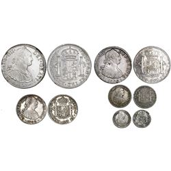 Denomination set of Mexico City, Mexico, bust 8-4-2-1-1/2 reales (5 coins), Charles IV, all assayer