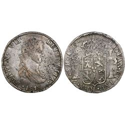 Zacatecas, Mexico, bust 8 reales, Ferdinand VII, 1818AG.