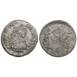 Zacatecas, Mexico, bust 1/2 real, Ferdinand VII, 1817AG.