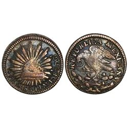 Mexico City, Mexico, cap-and-rays 1/2 real, 1824JM,  hookneck  eagle.