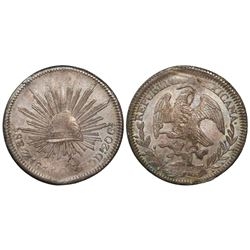 Zacatecas, Mexico, cap-and-rays 8 reales, 1844OM.