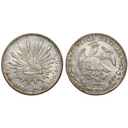Guanajuato, Mexico, cap-and-rays 8 reales, 1859/8PF.