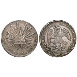 Chihuahua, Mexico, cap-and-rays 8 reales, 1874/1MM.