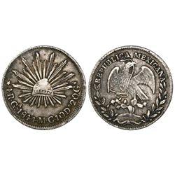 Guadalajara, Mexico, cap-and-rays 4 reales, 1844/3MC.