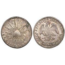 San Luis Potosi, Mexico, cap-and-rays 4 reales, 1862RO.