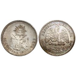 Zacatecas, Mexico, 50 centavos, 1878/7S.