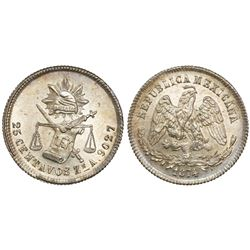 Zacatecas, Mexico, 25 centavos, 1874A.