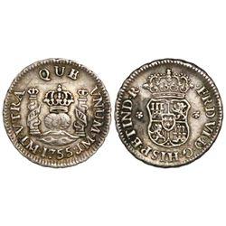 Lima, Peru, pillar 1/2 real, Ferdinand VI, 1755JM, mintmark not dotted, rare.