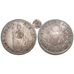 "Philippines (under Spain), 8 reales, Isabel II, crowned ""Y.II."" countermark (1834-7) on a Lima, Peru"